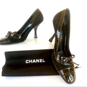 Chanel black patent and suede pumps